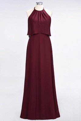 A-Line Chiffon Jewel Sleeveless Floor-Length Bridesmaid Dress