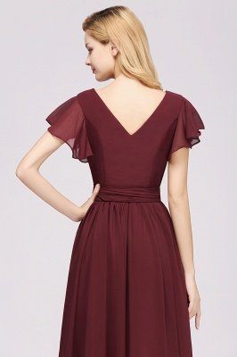 elegant A-line Chiffon V-Neck Short-Sleeves Floor-Length Bridesmaid Dresses with Bow Sash_7