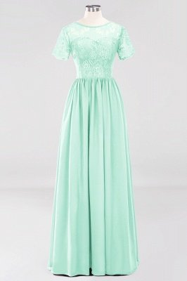 A-line Chiffon Lace Jewel Short-Sleeves Floor-length Bridesmaid Dress_34