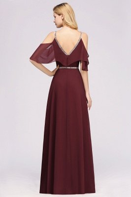 Elegant A-line Chiffon V-Neck Spaghetti Straps Sleeveless Floor-Length Bridesmaid Dresses with Beading Sash_2