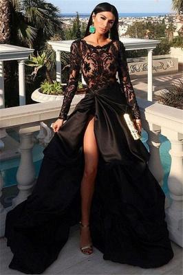 Manches longues appliques scoop glamour une ligne robes de bal split- face_1