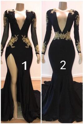 Beautiful V-Neck Long Sleeves Appliques Mermaid Floor-Length Prom Dresses_1