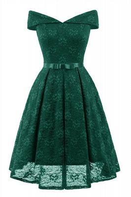 Retro Lace Off-the-shoudler Dress Elegant Cocktail Party Cap Sleeve A Line Vintage Dress_7