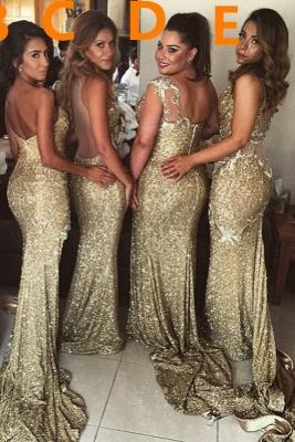 Sexy Goldene Brautjungfernkleider Seitenschlitz | Sexy Brautjungfer Kleid Bodenlang BO8128_3