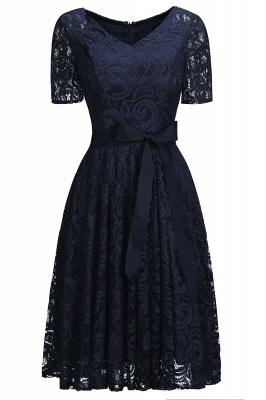 Элегантные платья с короткими рукавами V-образного вырезывания с поясом_4