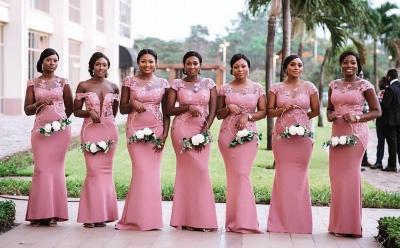 Vestido de dama de honor sirena rosa | Vestido de la recepción de la boda de la manga del casquillo del cordón_2