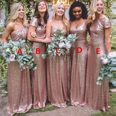 Сексуальные платья невесты блесток | Длинные свадебные платья из розового золота_3