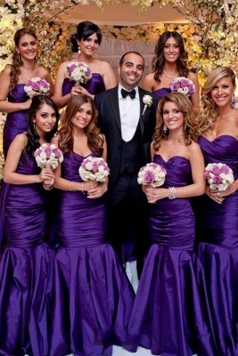 Modern Sweetheart Purple Mermaid Long Bridesmaid Dresses_1