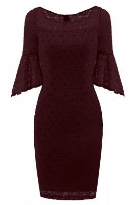 New Sky Blue Half Sleeve Lace Dress_1