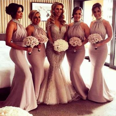 Элегантные платья невесты Холтер Русалка | Сексуальные рюши длинные свадебные платья_3