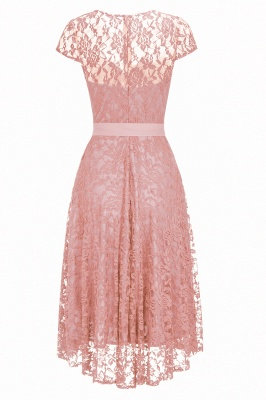Burgundy Lace Short Sleeves A-line Dresses with Bow_8
