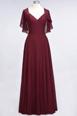 A-Line Chiffon Satin V-Neck short-sleeves Floor-Length Bridesmaid Dress