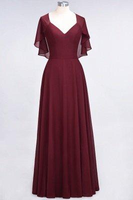 Chiffon Satin A-Line V-Neck short-sleeves Long Bridesmaid Dress_4