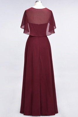 Chiffon Satin A-Line V-Neck short-sleeves Long Bridesmaid Dress_5