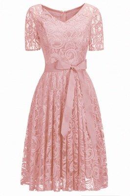 Элегантные платья с короткими рукавами V-образного вырезывания с поясом_8