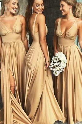 Elegant V-Neck Sleeveless Bridesmaid Dress | 2019 Bridesmaid Dress With Slit_2