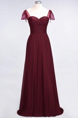 A-ligne en mousseline de soie sweetheart capuchon manches robe de demoiselle d'honneur longue au sol_7