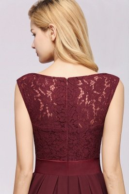 A-line Chiffon Lace Jewel Sleeveless Ruffles Floor-length Bridesmaid Dress_8
