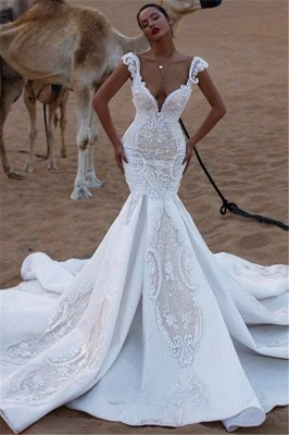 Unique Cap Sleeves V-Neck Appliques Mermaid Sweep Train Wedding Dresses