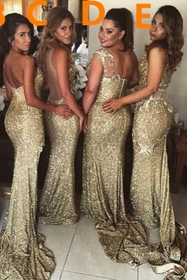 Sexy Gold Sequins Bridesmaid Dresses Side Slit Sparkly Wedding Party Dress BO8128_3