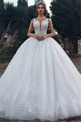 Unique Straps Sleeveless Appliques V-Neck Rhinestones Ball Gown Wedding Dresses