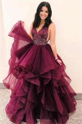 Glamorous V-Neck Sleeveless Appliques Tulle A-Line Floor-Length Prom Dresses