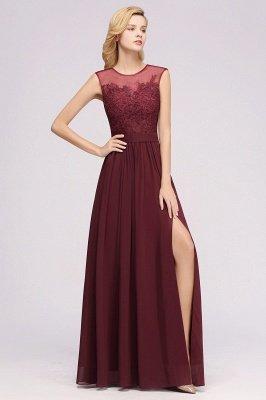 A-ligne en mousseline de soie dentelle bijou manches rez-de-longueur robes de demoiselle d'honneur avec des appliques_4