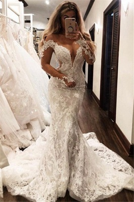 Glamorous Off-the-Shoulder Long Sleeves V-Neck Appliques Mermaid Floor-Length Wedding Dresses