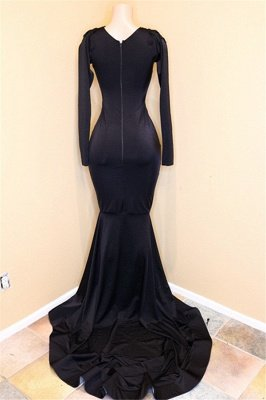Elegante V-Ausschnitt mit langen Ärmeln Applikationen Pailletten Mermaid Zipper Prom Dresses_3