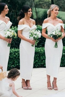 Off The Shoulder Sexy Bridesmaid Dresses | Front Split White Maid of Honor Dress_1