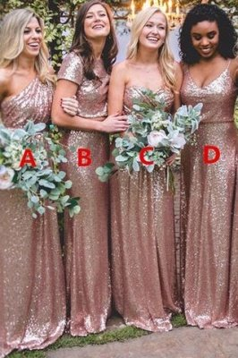 Sexy Sequin Bridesmaid Dresses | Rose Gold Long Wedding Guest Dresses