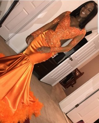 Chic V-Neck Long Sleeves Appliques Tulle Sequins Mermaid Floor-Length Prom Dresses_5