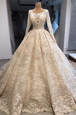 Elegant Scoop Long Sleeves Appliques Ball Gown Wedding Dresses