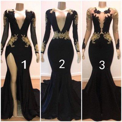 Beautiful V-Neck Long Sleeves Appliques Mermaid Floor-Length Prom Dresses_3