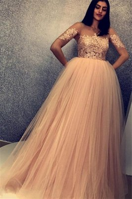 Stylish Scoop Short Sleeves Appliques Tulle A-Line Floor-Length Prom Dresses