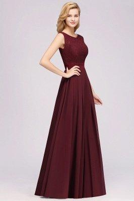 A-line Chiffon Lace Jewel Sleeveless Ruffles Floor-length Bridesmaid Dress_4