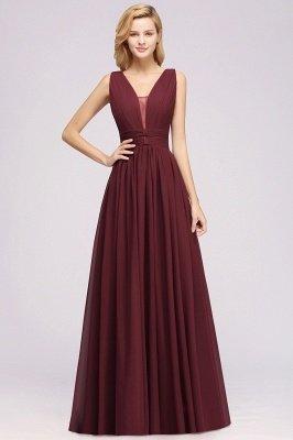 Weinrote Brautjungfernkleider Aus Chiffon | Elegantes Brautjungfer Kleid Bodenlang_2