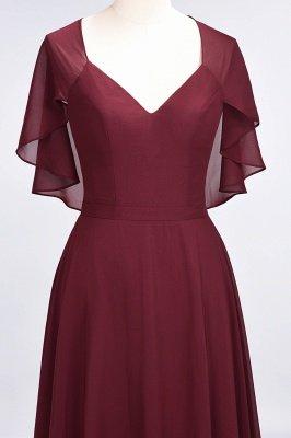 Chiffon Satin A-Line V-Neck short-sleeves Long Bridesmaid Dress_7