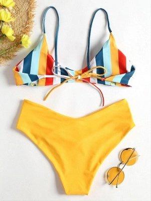 Striped High Leg Cami Bikini_4