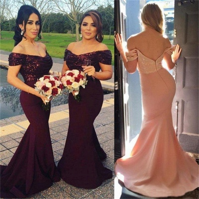 Off-The-Shoulder Sequins Long Mermaid Short Sleeves Prom Dress_4