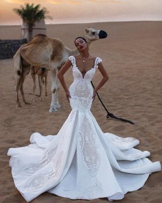Unique Cap Sleeves V-Neck Appliques Mermaid Sweep Train Wedding Dresses_3