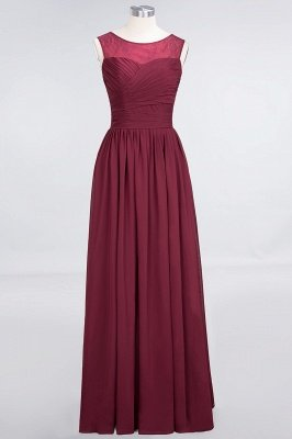 A-Line Chiffon Tulle Lace Scoop Sleeveless Floor-Length Bridesmaid Dress with Ruffle