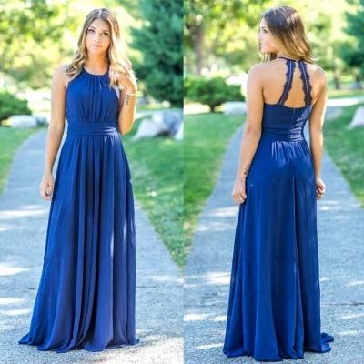 Ocean Blue Halter Chiffon Bridesmaid Dresses | A-line Open Back Floor-length Bridesmaid Dresses_3