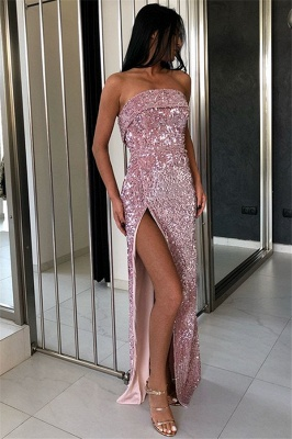 Gorgeous Sheath Strapless Sequins Prom Dresses_1