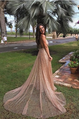 Glamorous Sequins A-Line Long Prom Gowns | 2019 Spaghetti Straps V-Neck Evening Dress_3