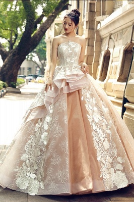 Applique Organza Strapless Ball Gown Sweep Train Prom Dresses_2