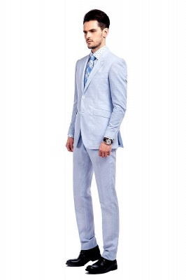 Blue Stripes Single Breasted Wedding Groom Tuxedos | Peaked Lapel Two Buttons Tailor Made Causal Suit for Men_3