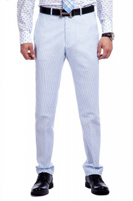 Blue Stripes Single Breasted Wedding Groom Tuxedos | Peaked Lapel Two Buttons Tailor Made Causal Suit for Men_7
