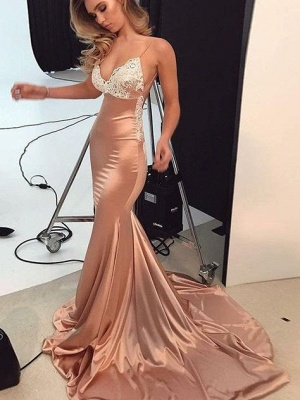 Sparkly Lace Appliques Mermaid Evening Dresses | Spaghetti Straps Sexy Long Prom Dresses_4