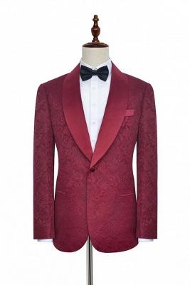 Deep Red Jacquard 3 Taschen Schal Kragen Custom Hochzeitsanzug   Einreiher One Button Custom Men Suits Smokings